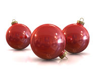 Few Red christmas glossy and shiny balls isolated. On white background Stock Images