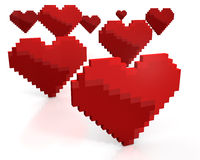 Few red hearts made of cubic pixels Stock Images