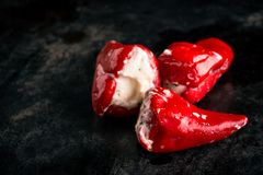 Few red hot chili peppers on dark tray Royalty Free Stock Photos