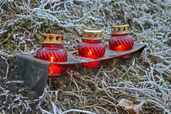 Few red icon-lamp, famine monument area, environment, royalty free stock photography