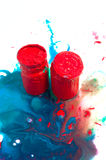 Few red jars of paint Stock Photography