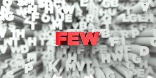 FEW -  Red text on typography background - 3D rendered royalty free stock image Stock Images