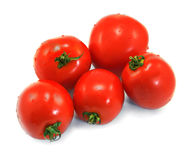Few red tomatoes isolated Stock Photo
