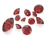 Few round cut rubies Stock Images