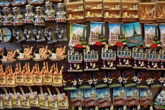 Few rows of magnet souvenirs Stock Images