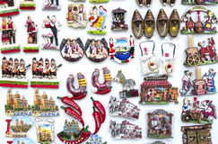 Few rows of magnet souvenirs from Bulgaria Stock Images