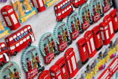 Few rows of magnet souvenirs from London Stock Photography
