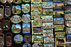 Few rows of magnet souvenirs from Rome Royalty Free Stock Photography