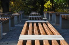 Selective focus of simple design wooden benches in city park. A few rows of modern benches made of wood and concrete in public place in sunny Autumn day. There royalty free stock image
