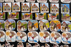 Few rzędy fridge magnesu pamiątki Bułgaria Obraz Stock