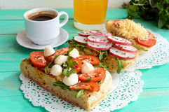 A few sandwiches, a cup of coffee (espresso), fresh. Stock Photo