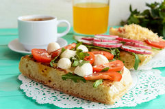 A few sandwiches, a cup of coffee (espresso), fresh. Royalty Free Stock Photo