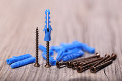 Few screws and plugs Royalty Free Stock Images