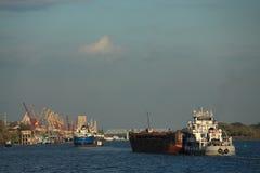 Few ships on Don river in Rostov Stock Photos