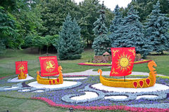 Few ships with red sail, flowers exhibition, Kyivan Rus Christianity, Royalty Free Stock Images