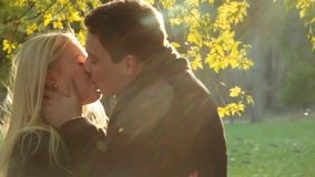 Few shots of autumn romance. Beautiful girl and handsome brunette man in tasteful autumn outfits. A strong man touching. Few shots of autumn romance. Beautiful stock video footage