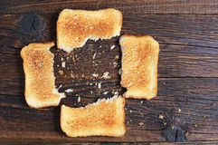 A few slices of toasted bread Royalty Free Stock Photos