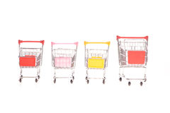 Few small metal shopping carts Stock Photography