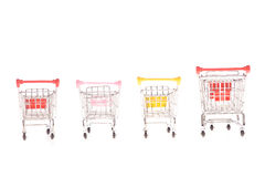 Few small metal shopping carts Royalty Free Stock Photography