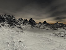 A few snow sharp rocks on the mountain. At night time Royalty Free Stock Photo