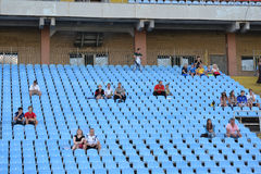 Few spectators in the stands Stock Photo