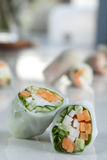 A few spring rolls focus on foreground. Several spring rolls with focus on one closest to the camera Royalty Free Stock Image