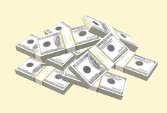 A few stacks of US dollars forming a pile royalty free stock images