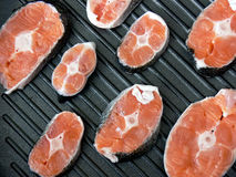 A few stakes of salmon Stock Photo