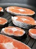A few stakes of salmon Royalty Free Stock Photos