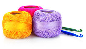 Few thread bobbins isolated Royalty Free Stock Images
