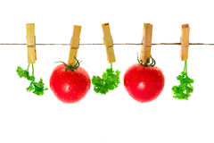Few tomatoes with parsley hang on clothes-pins Stock Photos