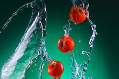 Few tomatoes in water splash Royalty Free Stock Photos