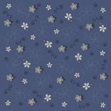 Vector navy blue floral background. A few types of floral patterns on the navy blue background Royalty Free Stock Photos