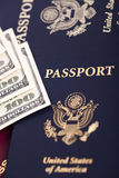 Cash & Passports Stock Images