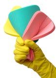 Few washing sponges in hand Stock Photo