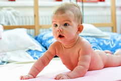 A few weeks old baby lying on the bed Royalty Free Stock Image