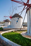 A few windmills on the island of Mykonos Stock Image