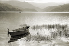 Fewa Lake. Boats in Pokhara Fewa Lake, Nepal Royalty Free Stock Photo