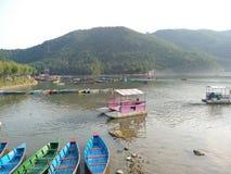 Fewa lake boating stock image