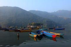 Fewa lake in Pokhara, Nepal Royalty Free Stock Photos