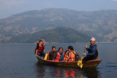 Fewa lake in Pokhara, Nepal Stock Image