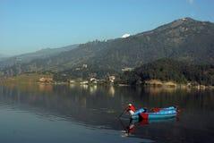 Fewa Lake in Pokhra-Nepal Stock Image