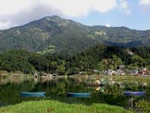 Fewa sjö, Nepal Fotografering för Bildbyråer