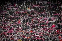 Feyenoord fans på ställningarna Arkivfoton