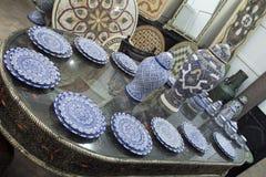 Fez Μαρόκο Αφρική μπλε μαροκινή κεραμική Στοκ Φωτογραφίες