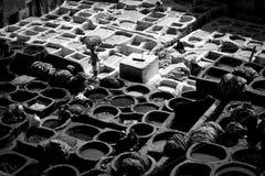 Fez, марокканськая старая кожаная дубильня с работой людей стоковые фотографии rf