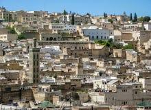FEZ, Марокко - 1-ое апреля 2008: Панорамный вид городка Fez старого с руинами стоковая фотография rf