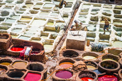 Fez, Marocco, Tannery leather souk. Stock Photo