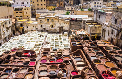 Fez, Marocco, Tannery leather souk. Royalty Free Stock Photo