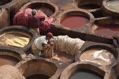FEZ MAROCKO - FEBRUARI 20, 2017: Män som arbetar inom målarfärghålen på den berömda Chouara garveriet i medinaen av Fez Royaltyfri Foto